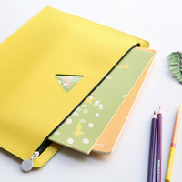 Simple Fashion PU Leather Folder For Documents A5 A4 File Organizer Document Bag Zipper File Folder