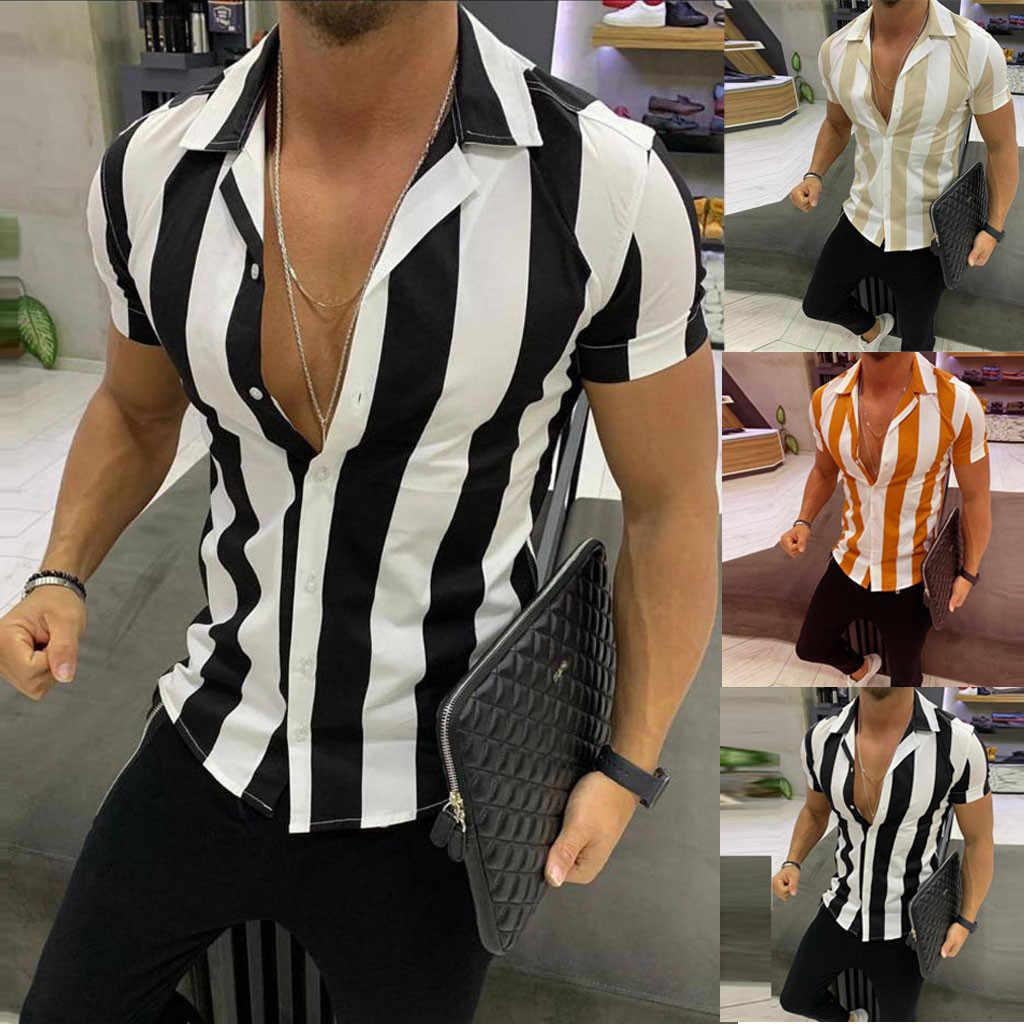 アロハシャツメンズ半袖ビーチストライプカラフルな社会メンズシャツ半袖ルーズ男性 hawaiana hombre