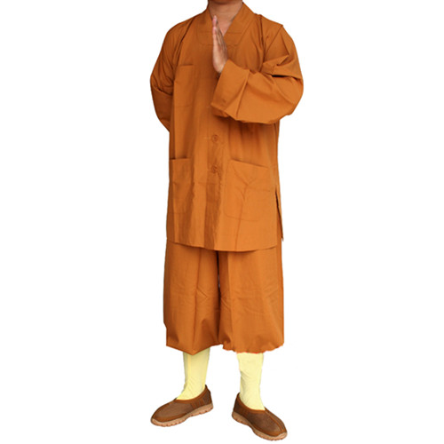 High Quality Men's Traditional Shaolin Kung Fu Uniform Robe Monks Meditation Long Gown Suits