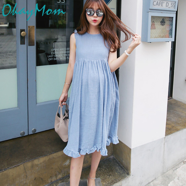 1af2dba58230f Korean Causal Loose Maternity Dress Clothes Blue Pink Linen Dresses For  Pregnant Women Pregnancy Wear Summer Clothing 2019