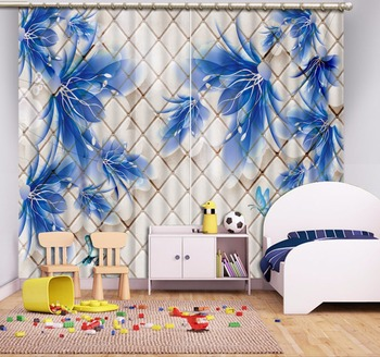 High Quality Costom 3D Curtain Plaid Background Flowers Blue Curtains Blackout Curtain Fabric 3D Curtain Blackout