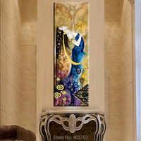 Pintura al óleo hecha a mano en lienzo retratos arte para la decoración de la sala de estar fondo dorado personaje abstracto chica foto sin marco