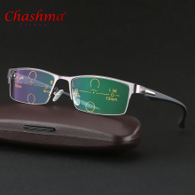 CHASHMA Progressive Multifocal glasses Photochromic reading Flexible Temples Legs Half Frame Male Presbyopia