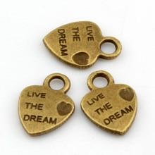 Hot ! 100pcs Antique Bronze Mini Heart Live The Dream Charms  Pendants 10x12mm A0010231