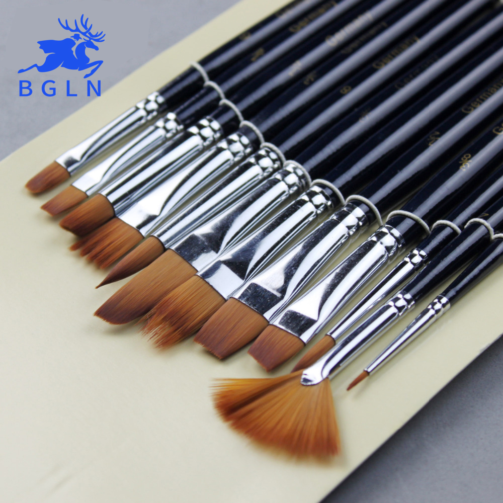 12Pcs Paint Brushes Set Nylon Hair Painting Brush Variety Style Short Rod Oil Acrylic Brush Watercolor Pen Art Supplies 14pcs different shape acrylic oil painting brush suit wooden handle brushes drawing tool paint pen with bag art supplies
