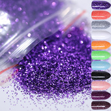5g Nail Poeder Paars Zilver Champagne Glanzend Glitter Kleurrijke DIY Nail Pigment Chrome Manicure Nail Tips Set(China)