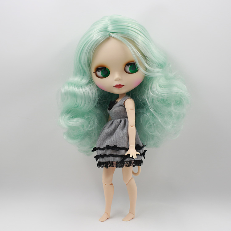 ФОТО Nude boneca neo blyth doll with joint body light green curly long hair kids toys baby dolls for girls