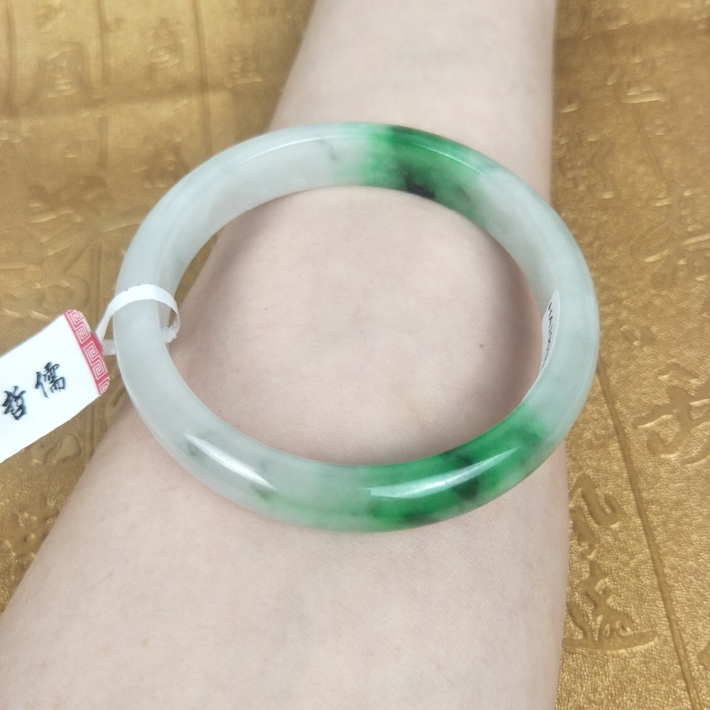 Send A certificate natural Jadeite bracelet Natural ice bottom light green two-color 54-61mm female Princess bracelet Jewelry giSend A certificate natural Jadeite bracelet Natural ice bottom light green two-color 54-61mm female Princess bracelet Jewelry gi