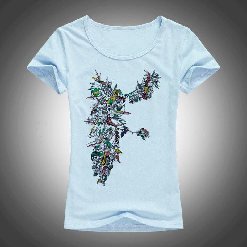 2017 sommer Neue Mode T-Shirts Perlen Frauen t-shirt Vögel Blume T - Damenbekleidung - Foto 3