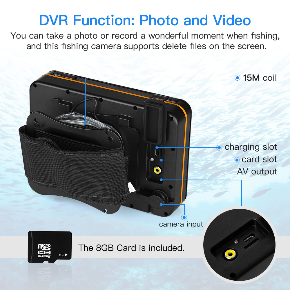 """Image 2 - Eyoyo Waterproof DVR Fish Finder 5"""" Monitor Video Camera 1000TVL Underwater Ice Fishing 4pcs Infrared+2pcs White Leds Fishfinder-in Fish Finders from Sports & Entertainment"""
