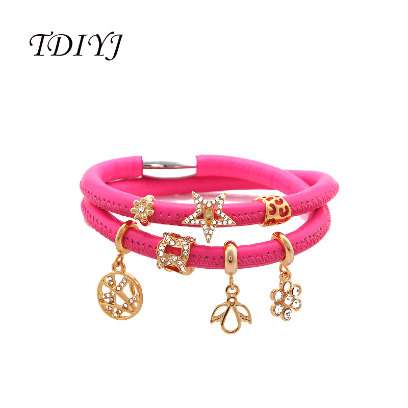 Tdiyj New Arrival 1set Rose Red Magnetic Clasp Double Loop Genuine Sheepskin Leather Story Bracelet With 7pcs Gold Story Charms