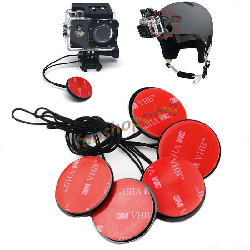 5pcs/lot Safety Insurance Tether Straps With Sticker Mounting Kit For GoPro Go Pro HD Hero 6 5 4 3+ 2 1 SJ4000 Xiaomi Yi Camera
