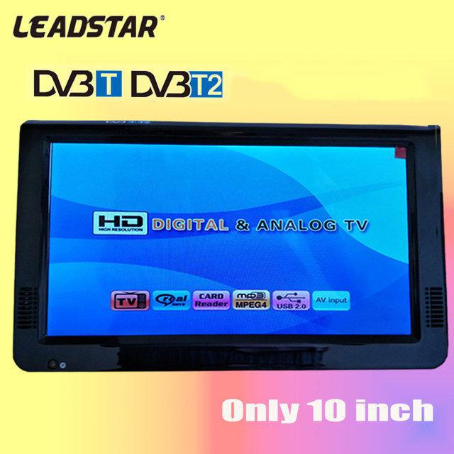 2017 New HD TV 10 Inch Digital And Analog TV Receiver And TF Card And USB Audio And Video Playback Portable DVB-T2 Television