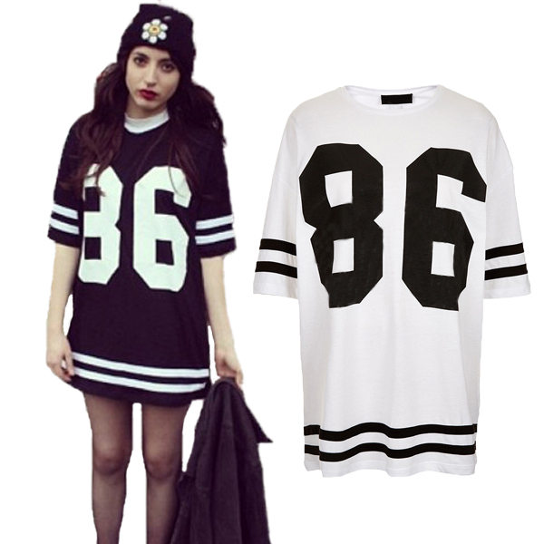9980c68f New 2016 Celebrity Baseball Mini Dress Oversized 86 Print Tops Loose Tee T  shirt Black/White Women Summer Casual Dress Plus Size-in Dresses from  Women's ...