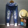 Nueva llegada 2016 del otoño Niños niñas niños casual ripped jeans vaqueros Niños pantalones de mezclilla Chicos de moda 2-7 años