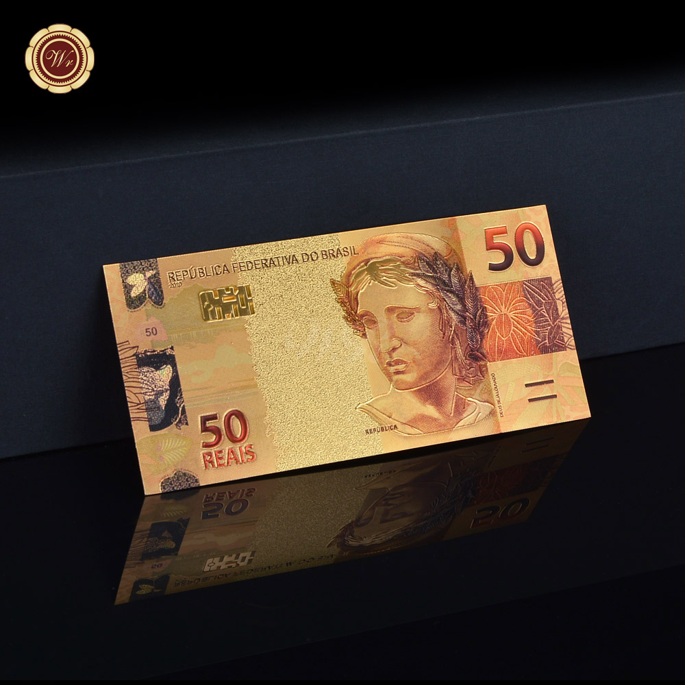 Färgrik guld sedel Brazil 50 Real Paper Fake Money Plated Gold Foil - Heminredning