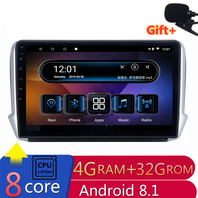 "10"" 4G RAM 2.5D IPS 8 CORE Android 8.1 Car DVD Multimedia Player GPS for Peugeot 2008 208 2013 2014-2016 audio radio navigation"