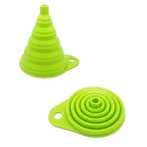 Portable Retractable Funnels Home Kitchen Funnel Convenient Storage Green