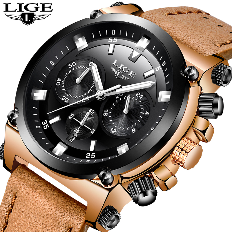 Relogio Masculino LIGE Mens Watches Top Brand Luxury 24 Hour Big Dial Design Quartz Watch Men Leather Waterproof Sports Watches big dial simple watch for women top brand luxury pu leather hot design quartz watch dress lady watches nice relogio digital