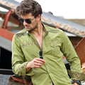 Men Cargo Shirts Long-Sleeved Embroidery Military Style  Loose Shirt  Men High Quality Cotton Army Shirts Camisa A965