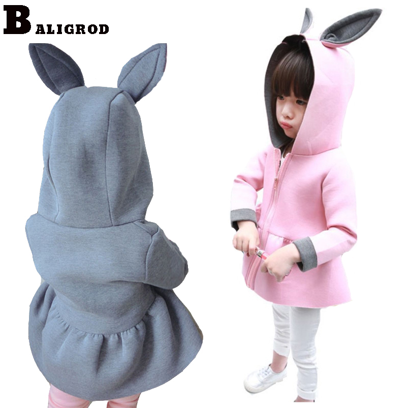 Spring Girl Coat Baby Girls Jackets Autumn Toddler Girl Clothes Winter Cotton Rabbit Ears Hat Jackets for Girls Hoody baby coat