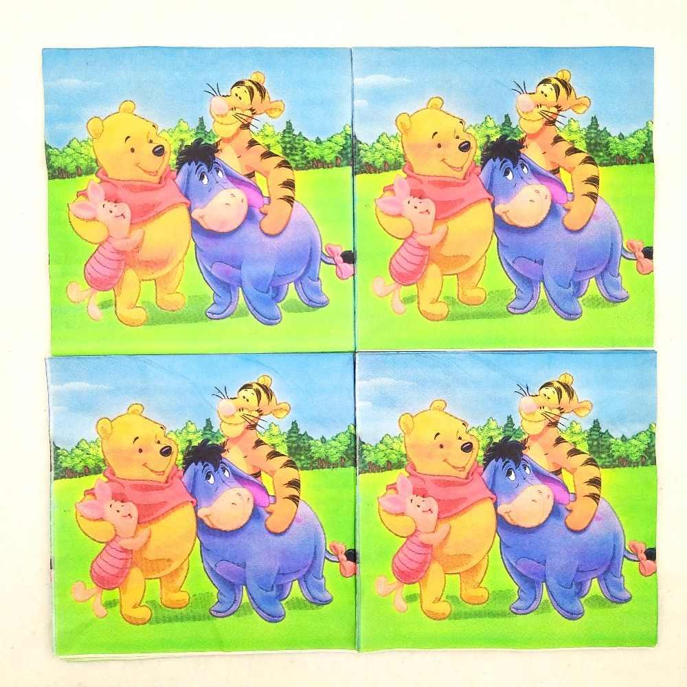 20 pçs/set Winnie The Pooh Guardanapo de Papel Do Partido Dos Miúdos Decoração Feliz Aniversário Do Bebê Fontes Do Partido Temáticos Favores Do Partido Definir
