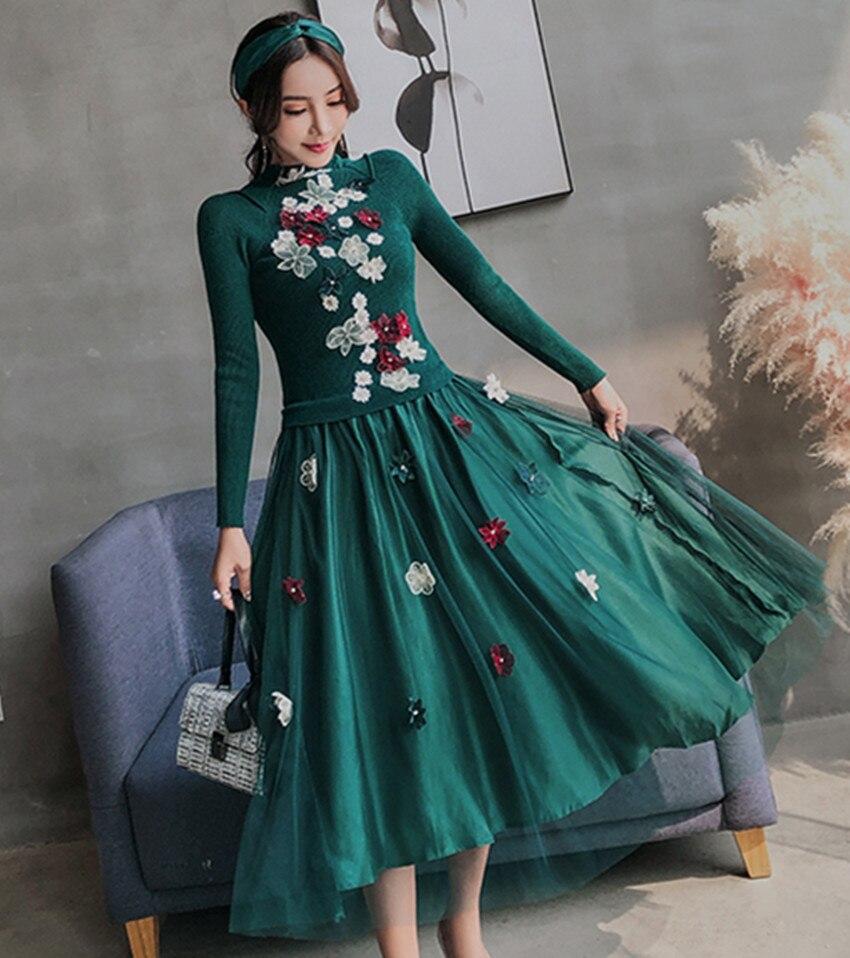 63632e297 Las mujeres de lujo bola Pullover vestido verde Knitting patchwork malla vestido  Casual bordado Floral rebordear vestido