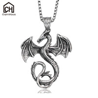 316L Stainless Steel Choker Necklace For Men Dragon Zodiac Pendant Necklace Fashion Male Jewelry Box Chain