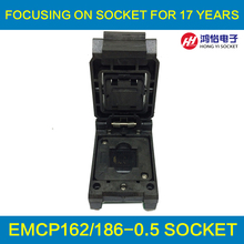 eMCP162 to DIP48 IC Test Socket , for BGA162 BGA186 testing, Chip Size 11.5*13mm, Clamshell Programmer For Data Recovery qfn48 to dip48 qfn48 mlf48 mlp48 plastronics 48qn50k17070 ic test socket programmer adapter 0 5mm pitch