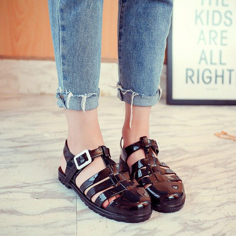 Koovan Flat Sandals 2018 New Summer Women's Sandals Plastic Summer Roman Sandals Header Roman Jelly Shoes Beach Shoes