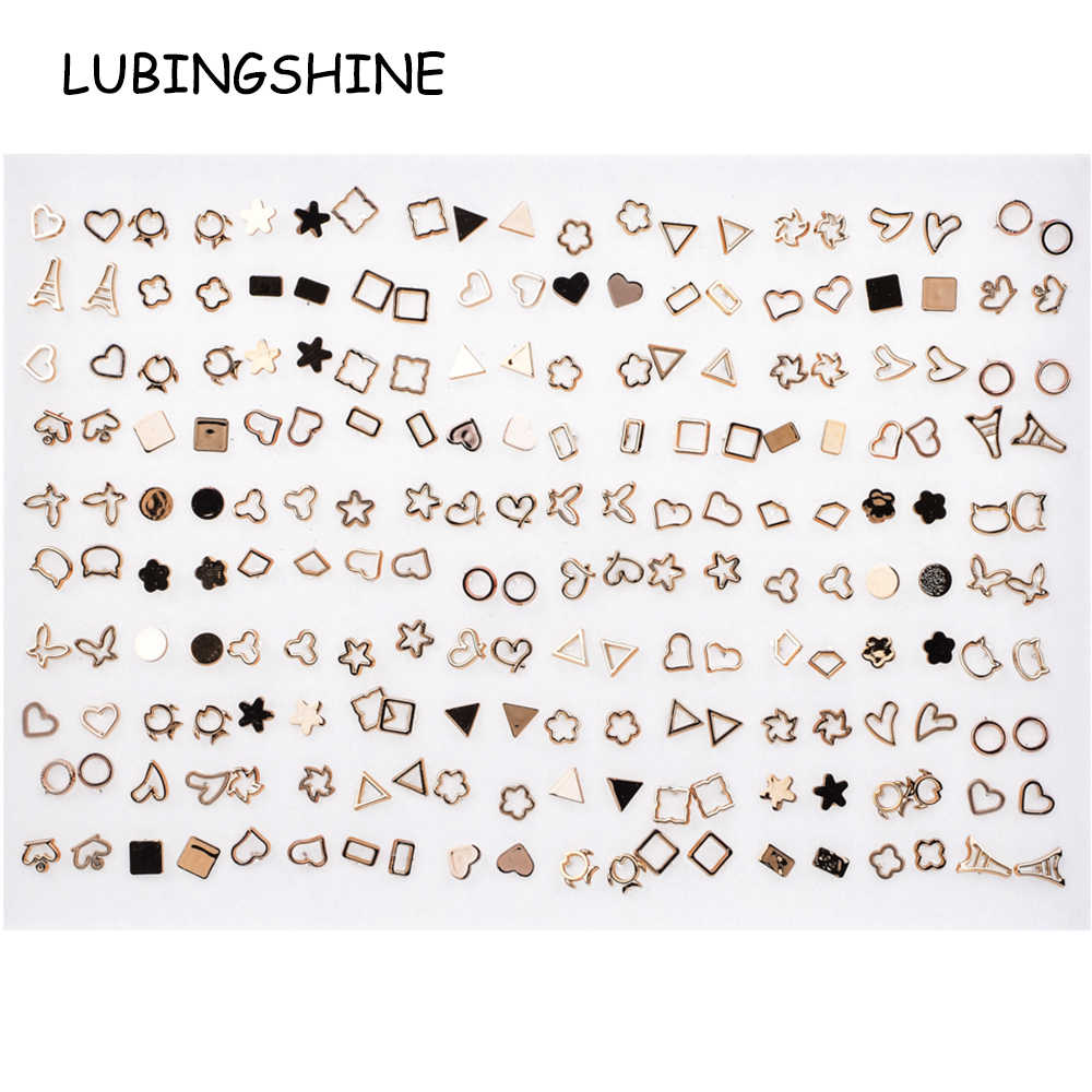 100 Pairs/lot Women Acrylic Gold Silver Mix Small Stud Earrings Sets Girl Child Hollow Heart Earring Jewelry Gift Random Style