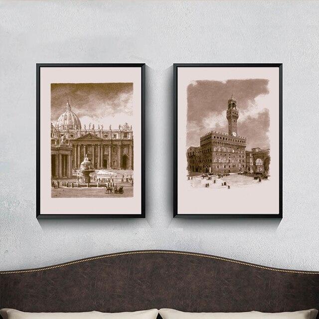 Oude Retro Decor Canvas Art Europese Stijl Paleis Architectuur