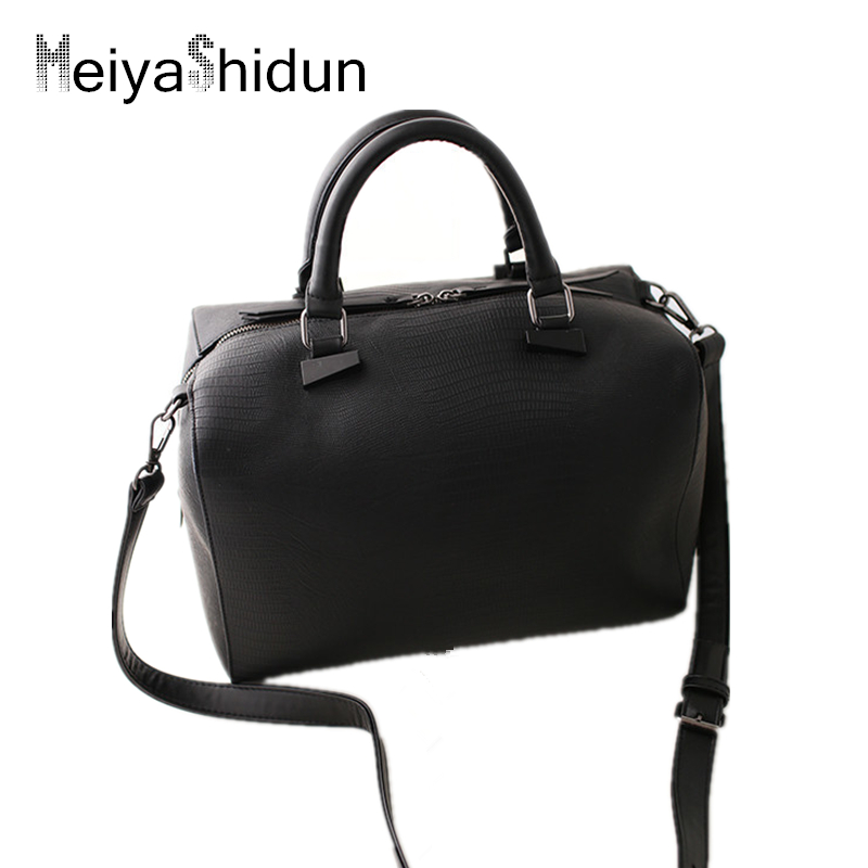 ФОТО MeiyaShidun Casual Women Handbags Crocodile Boston Leather Bag Tote shoulder Messenger Bags Snake Embossing Designe Black Bucket