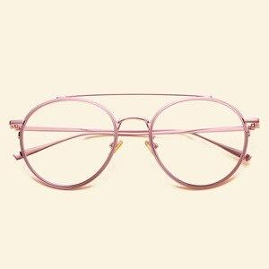 Image 5 - Gafas femeninas marca NOSSA con marco grande Retro marcos de Metal para anteojos para hombre y mujer, montura óptica para miopía, lentes transparentes, gafas casuales para estudiantes
