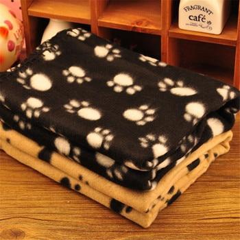 Large 60cmx70cm Pet Dog Cat Soft Warm Paw Print Blanket Pet Cat Puppy Fleece Blanket Pet Cartoon Quilt Mat 1pcs 1