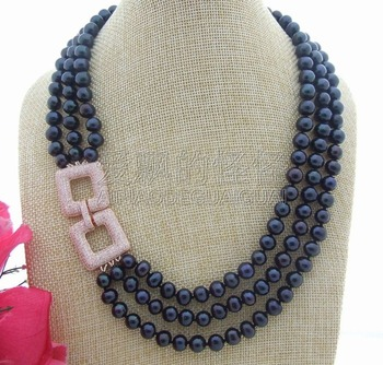 N042905 3Strands Black Pearl Necklace CZ Connector
