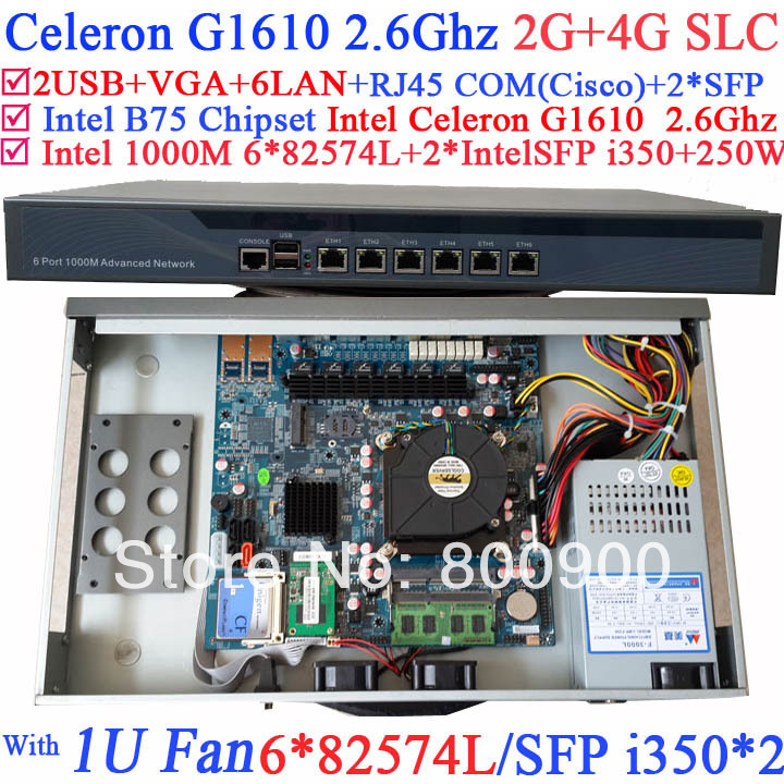 rackmount pc 1U network server with 6*1000M 82574L Gigabit Nic 2* intel i350 SFP ports Intel Celeron G1610 2.6Ghz 2G RAM 4G SLC