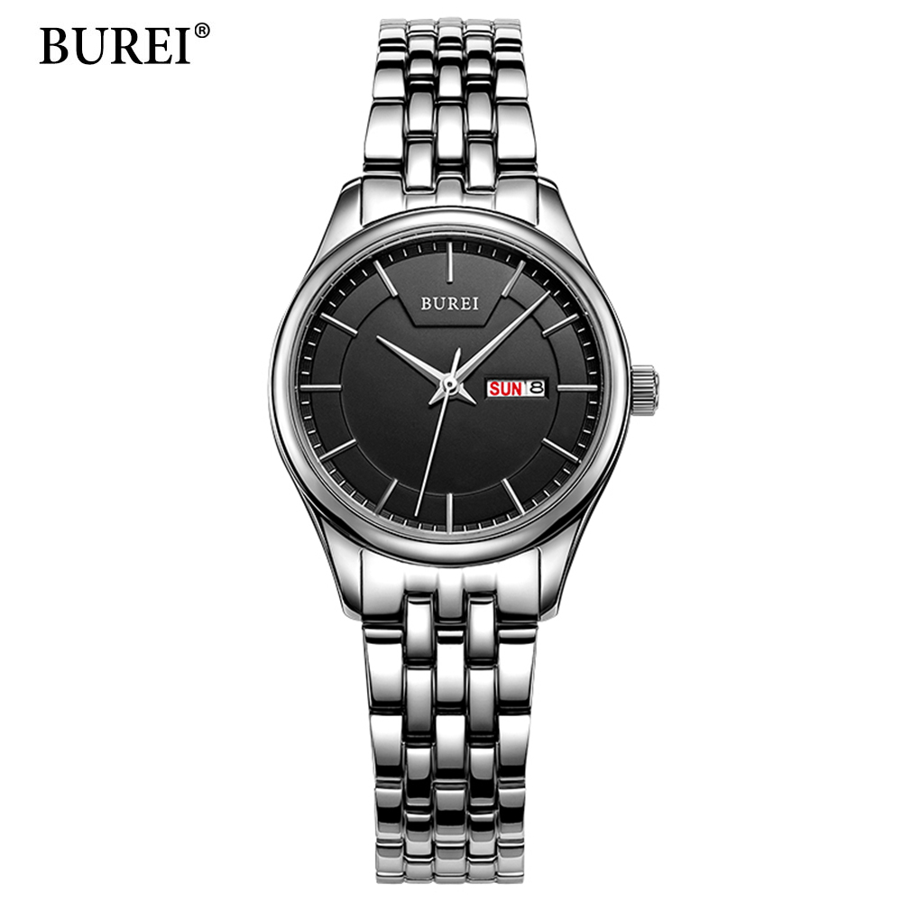 BUREI Womens Watches Top Brand Luxury Fashion Casual Women's Quartz Wristwatches Dress Stainless Steel Quartz-Watch Reloj Hombre kids watches children silicone wristwatches doraemon brand quartz wrist watch baby for girls boys fashion casual reloj