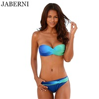 JABERNI Push Up Bikini Sexy Swimsuit Women Swimwear 2017 Bandeau Bikinis Gradient Color Brazilian Bikini Set