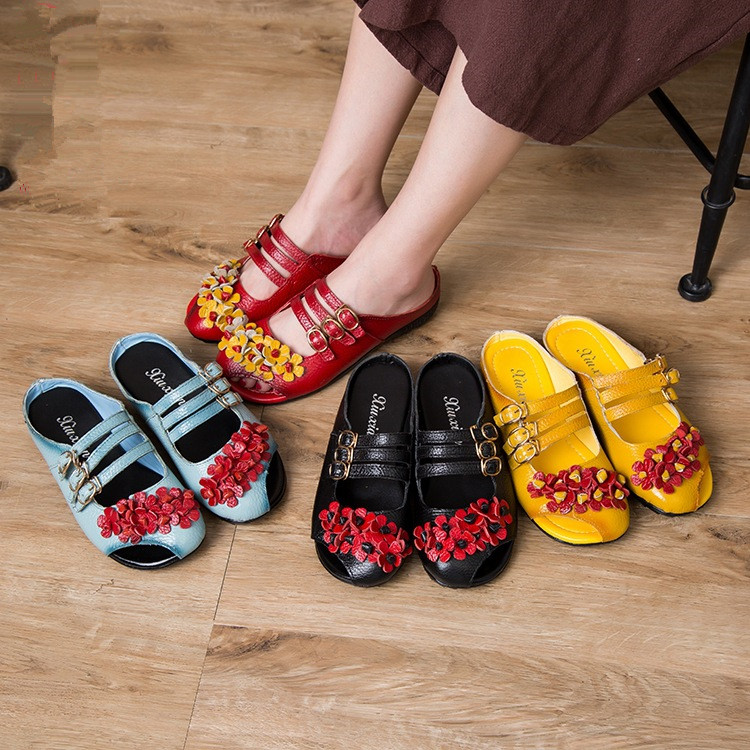 Summer Women Sandals Ethnic Flat Shoes Real Leather Women Casual Shoes Retro Handmade Ladies Shoes Slip on Summer Beach Sandals in Women 39 s Sandals from Shoes