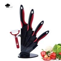 Myvit Brand Home Kitchen Knives 3 4 5 6 Peeler Knife Holder Ceramic Knife Set Black