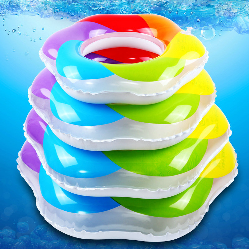 Pvc Raibow Baby Children Kids Adults Safety Inflatable Swimming Ring Swim Pool Circle Buoy 2