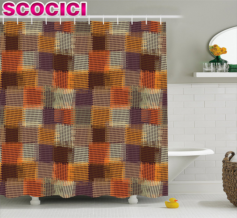 Shower curtain quilt pattern - Geometric Decor Shower Curtain Grunge Checkered And Striped Quilt Pattern Mottled Digital New Design Fabric Bathroom Decor Set W