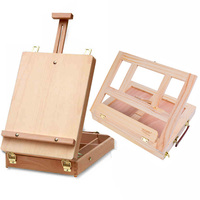 Multifunctional Adjustable Easel with Integrated Wooden Box Art Drawing Painting Table Oil Paint Suitcase Desktop Art Supplie