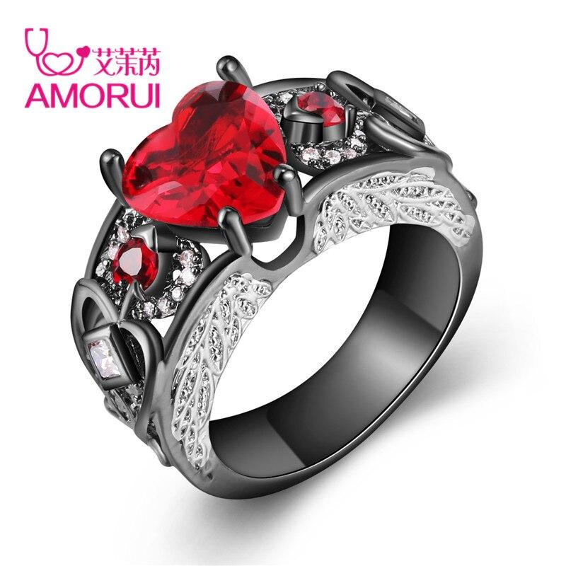 AMORUI Trendy Liebe Herz Frauen Rot Lila Weiß Geburt Stein Kristall Verlobungsring Frau Engelsflügel Ringe Schwarz Gold Anillos