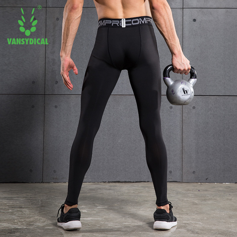 91d39bb8298a76 Vansydical Men's Running Compression Pants Elastic Tights Fitness Training  Basketball Jogging Sports Gym Leggings -in Running Tights from Sports ...