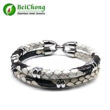 Последние Роскошные кожи питона браслет из кожи змеи для часы натуральная кожа для Для женщин и Для мужчин