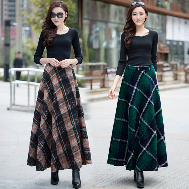 "Very Best Quality- English style ladies woollen long plaid maxi skirt for spring autumn winter …""One size"" = Custom tailored (see below)"