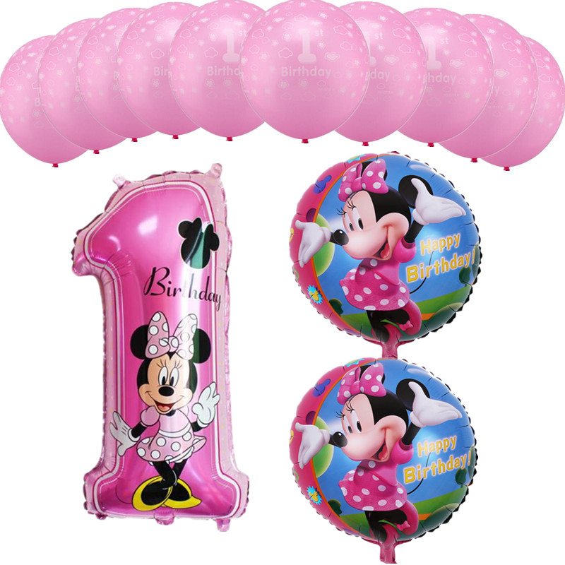 13pcs Blue Mickey Pink Minnie Number 1 Foil Balloons 1st Birthday Latex Balloons Kids Birthday Party Baby Shower Decor Supplies