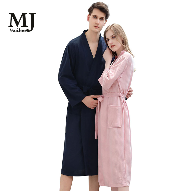 X0043 MaiJee Kimono Woman's Robes For Women Nightie Sleeping Bathrobe Men And Women Home Service Couple Nightgown 2019 Sleepwear